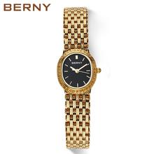 Damskie na co dzień bardzo uroczy na każdą okazję zegarek kwarcowy analogowy zegarek na rękę kobiety zegar reloj złoty kolor BERNY tanie tanio