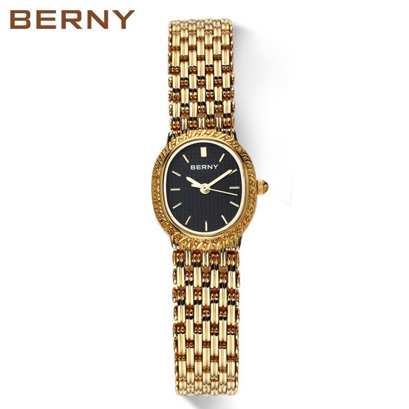 Vrouwen Casual zeer charmant voor alle gelegenheden Quartz Horloge Analoog Polshorloge Vrouwen Klok reloj Goud kleur BERNY-in Dameshorloges van Horloges op  Groep 1