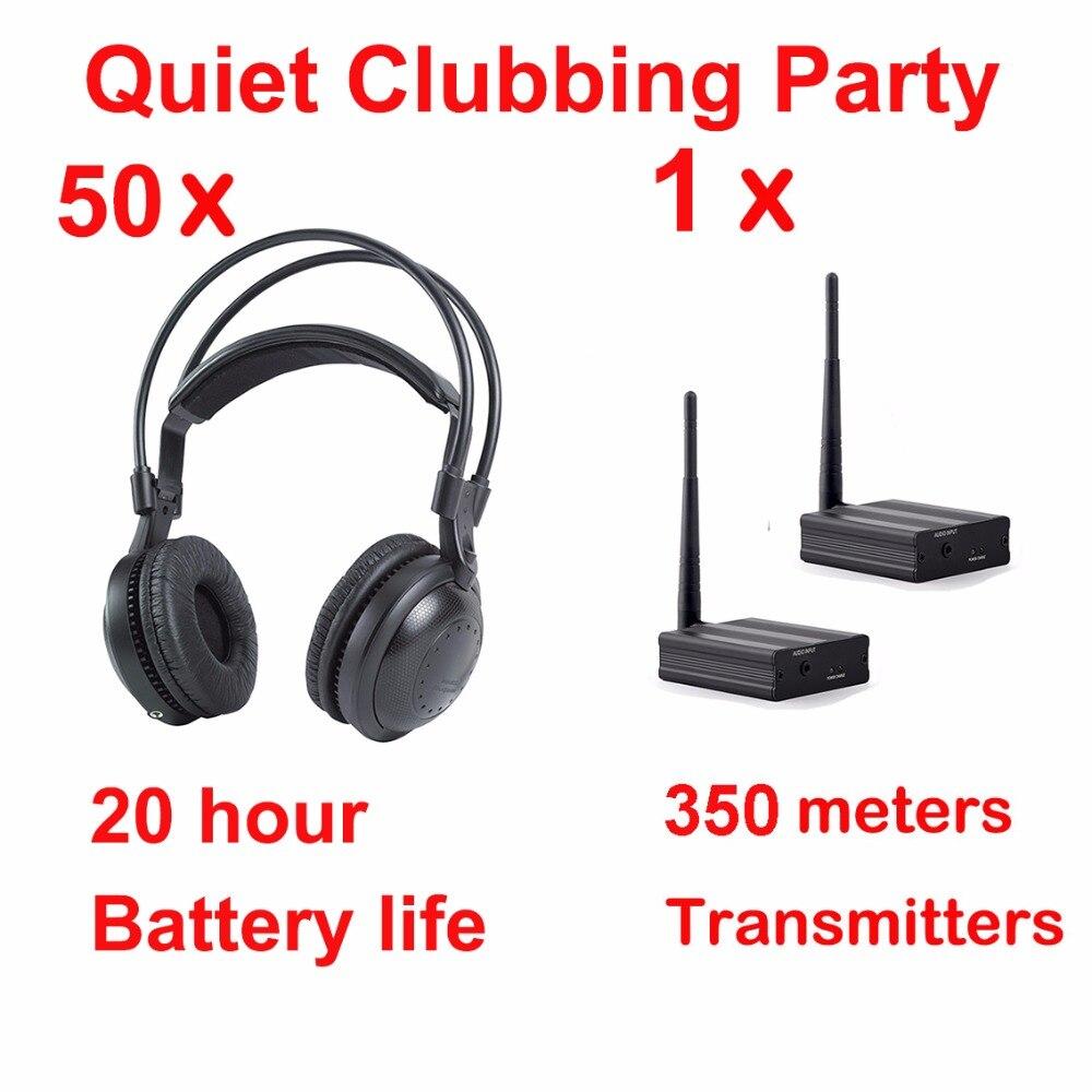 Écouteurs Disco silencieux les plus professionnels-lot de fêtes Clubbing silencieux (50 écouteurs sans fil classiques + 1 émetteurs)