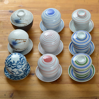 Japanese style ceramic tableware egg cup blue rice bowl tureen casserole arenaceous boiler steamed custard bowl soup stew mug