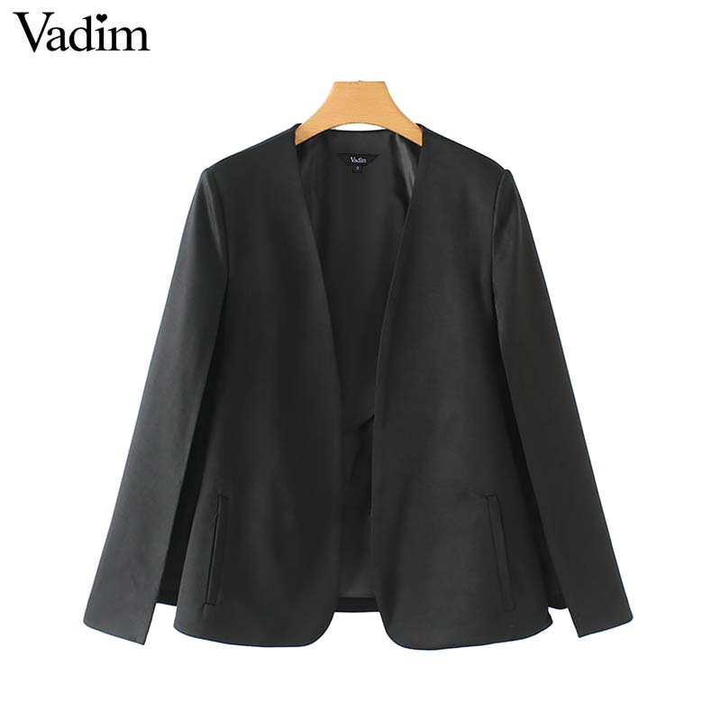 Image 2 - Vadim women elegant black white V neck coat pockets office wear solid outerwear female casual chic open stitch tops CA347Jackets   -