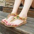 Mulheres Sandálias 2016 36-40 Conforto Sandálias Das Mulheres Boemia Verão Moda Plus Size Plana Sandálias de Corda Do Grânulo