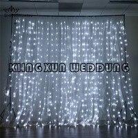 Белый Цвет 10FT * 10FT шифон Ткань Панель свадьба фон Шторы \ Stage Задний план со светодиодной подсветкой