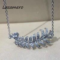 Lasamero 1ct круглой огранки Проложить Набор 18 К белого золота Перо Форма природных алмазов подвеска Цепочки и ожерелья