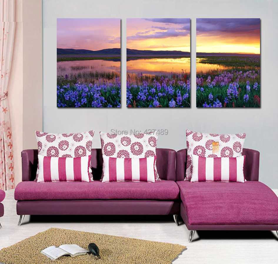 3 Panel modern wall art home decoration frameless oil painting canvas prints pictures P374 lavender field sunset wild scenery - Ann Taylor's Store store