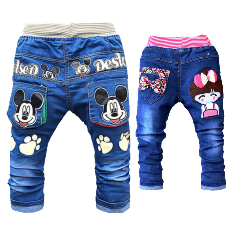 Cartoon Baby Boy Clothes Denim Pants Elastic Waist Casual Printed Toddler Pants Girls Trousers Children's Jeans for 2-4T Unisex(China)