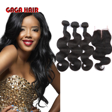 7A Brazilian Virgin Human Hair Weft With Closure Body Wave 3 Bundles Hair Weave Extensions With Lace Closure GaGa Hair Products