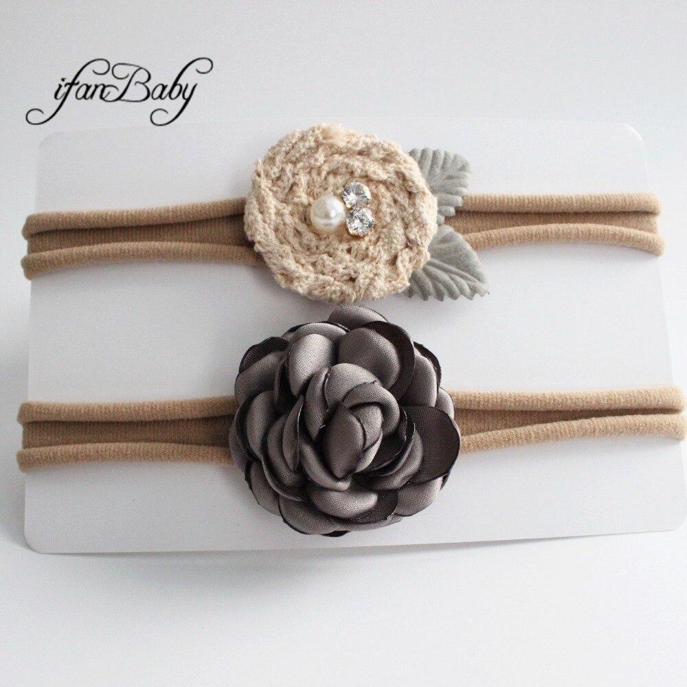 kids girl fabric flower headband nylon headband (2)