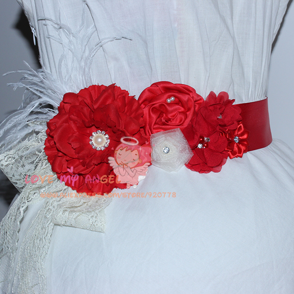 1 pcs Red flower sash Feather and Rhinestone belt Flower Girls sash Wedding  Sash Maternity sash pregnancy photo prop-in Women s Belts from Apparel ... be91613cec87