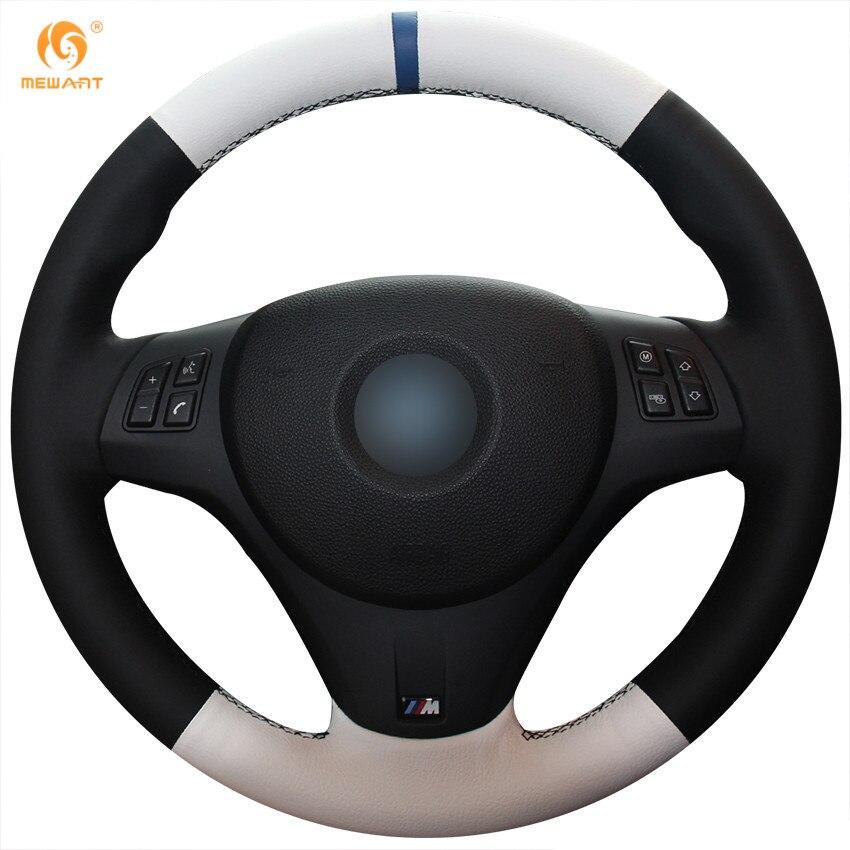 MEWANT Black White Genuine Leather Car Steering Wheel Cover for BMW M3 2009-2013 E92 aluminum alloy shift paddles fashion style car steering wheel decoration accessories for e90 e3 e92 m3 e93 m3