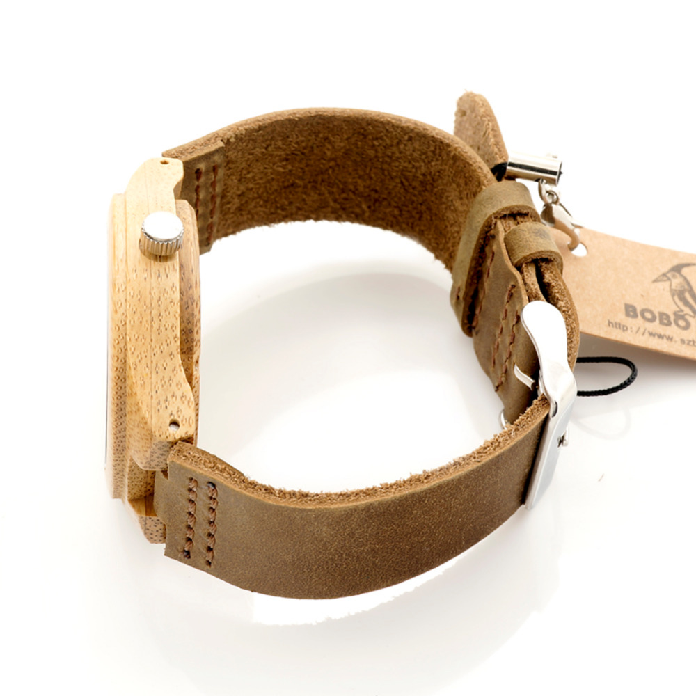 dbc1dd0f7fe 3.5CM   4.1CM BOBO PÁSSARO Marca Homens Mulheres Relógios De Madeira De  Bambu Famoso Relógio De Quartzo De Luxo De Madeira relógios de Pulso Reloj  Hombre