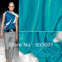 Wholesale Silk Fabric Luxury Autumn And Winter High Quality Silk Velvet Fabric Peacock Blue Silk Fabric