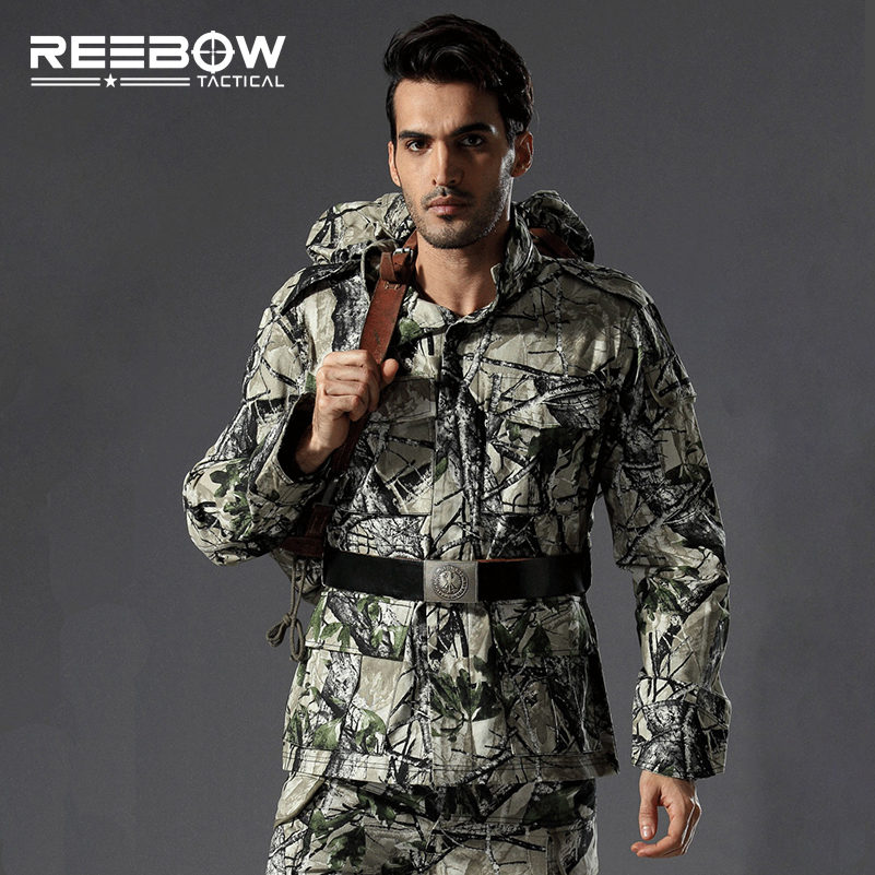 REEBOW TACTICAL Outdoor Military Bionic Camouflage Jacket Men Autumn Winter Cotton Coat SWAT Meadow Alpines Mountain Outwear fire maple sw28888 outdoor tactical motorcycling wild game abs helmet khaki