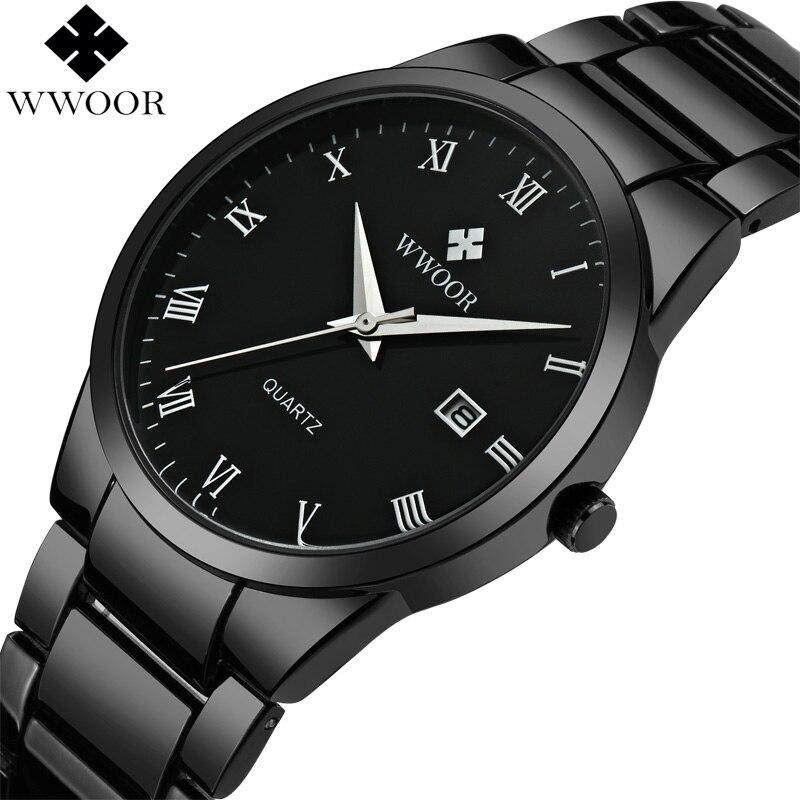 2017 WWOOR Top Marque De Luxe Hommes En Acier Inoxydable Étanche Sport Montres Hommes de Quartz Analogique Horloge Mâle Noir Sangle Poignet montre