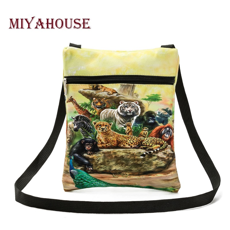 Miyahouse Hot Sale Colroful Animals Printed Shoulder Bag Women Cotton Fabric Small Messenger Bag For Girls Mini Lady Flap Bag все цены