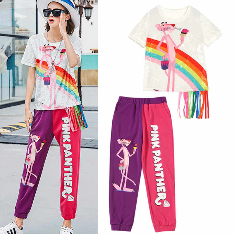 Summer women velvet short sleeve blouses cartoon print colorful ribbons tees tops and patchwork harem pants suits twinset NS952