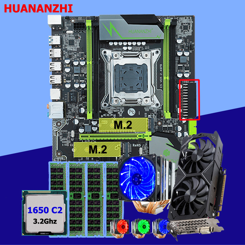 HUANANZHI X79 Pro motherboard with DUAL M.2 slot video card GTX1050Ti 4G CPU Xeon E5 1650 C2 with 6 tubes cooler RAM 16G(4*4G) 1