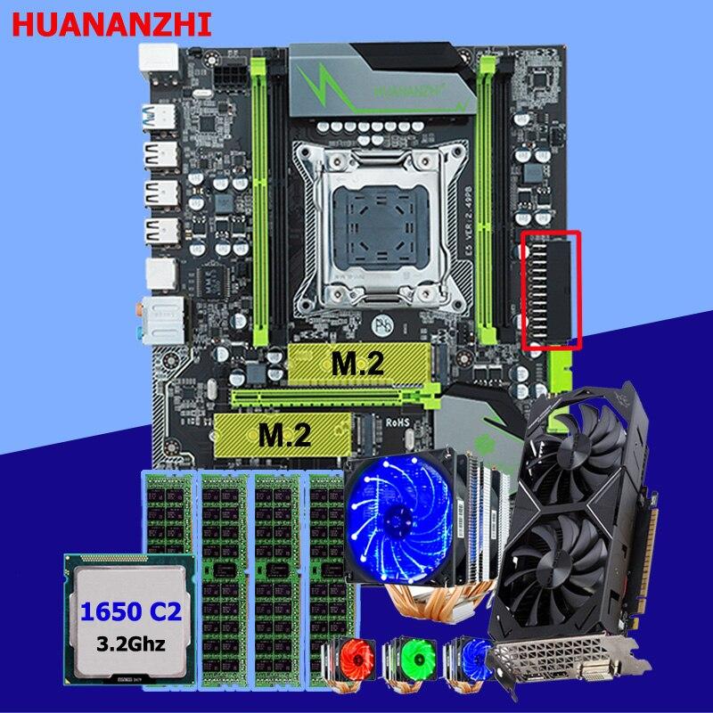 HUANANZHI X79 Pro con doble M.2 ranura para la tarjeta de vídeo GTX1050Ti 4G CPU Xeon E5 1650 C2 con 6 tubos refrigerador RAM 16G (4*4G)