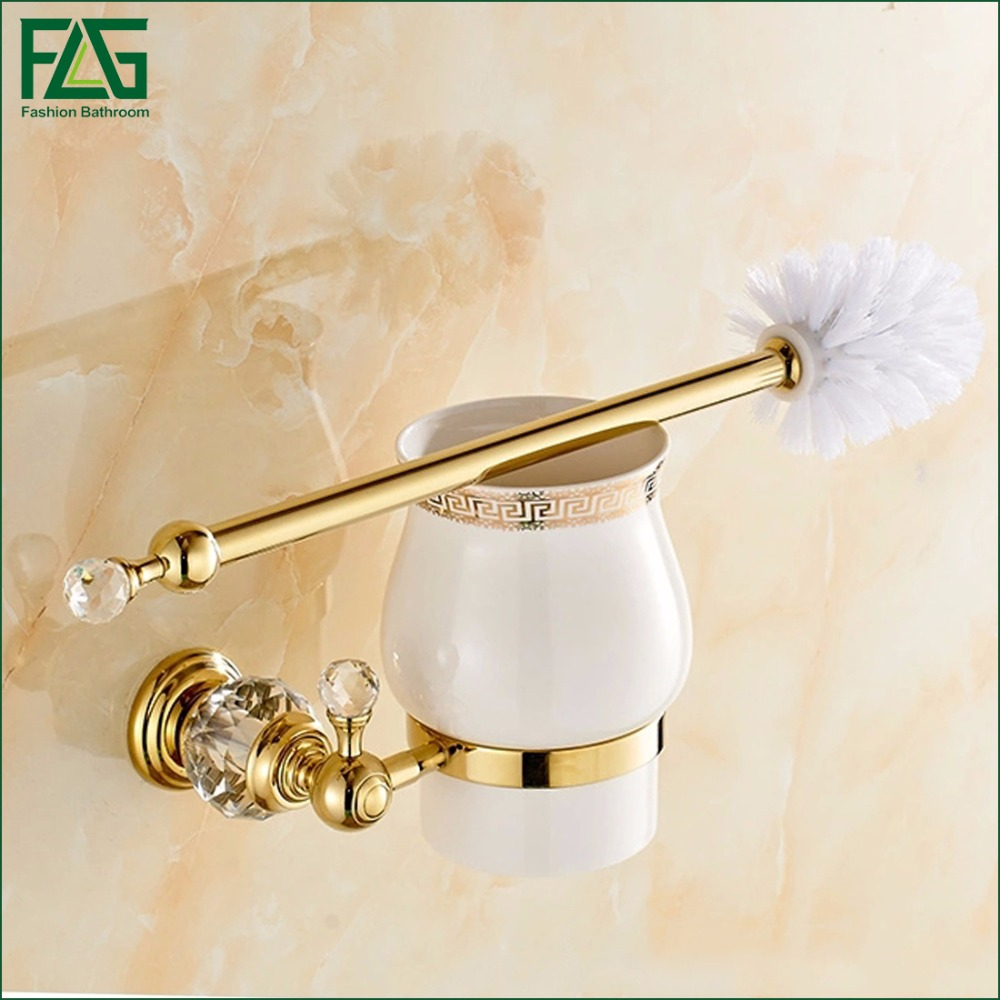 FLG Toilet brush holders Gold Plated Wall mounted Toilet Brush Holder With Ceramic Cup Household Products