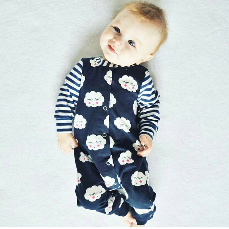 New Born Baby Clothes Male Fashion Cloud Print Long -2664