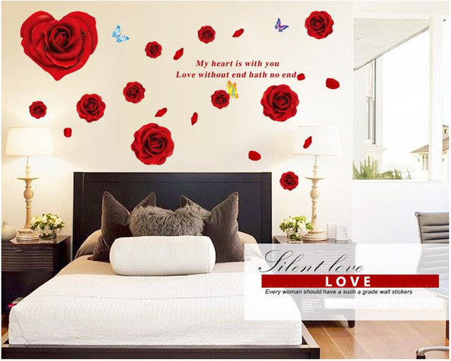 Rose Romantic Tv Background Bedroom Diy Wall Sticker Fashion Wall