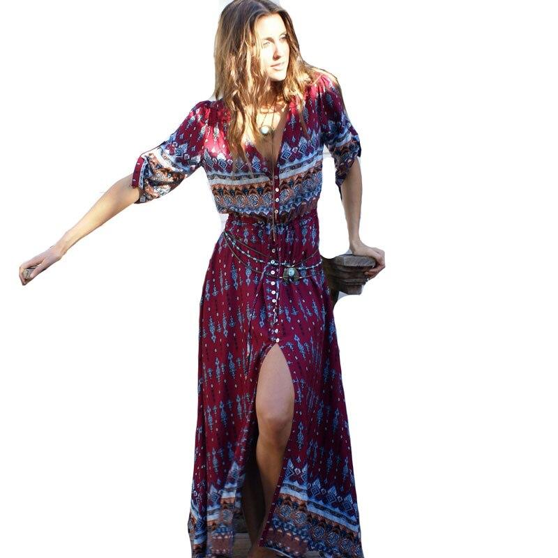 2019 Bohemian Printing Long Dress Women Maxi Sexy V Neck Floral Print Retro Hippie Vestidos Chic Clothing Boho Beach Dresses