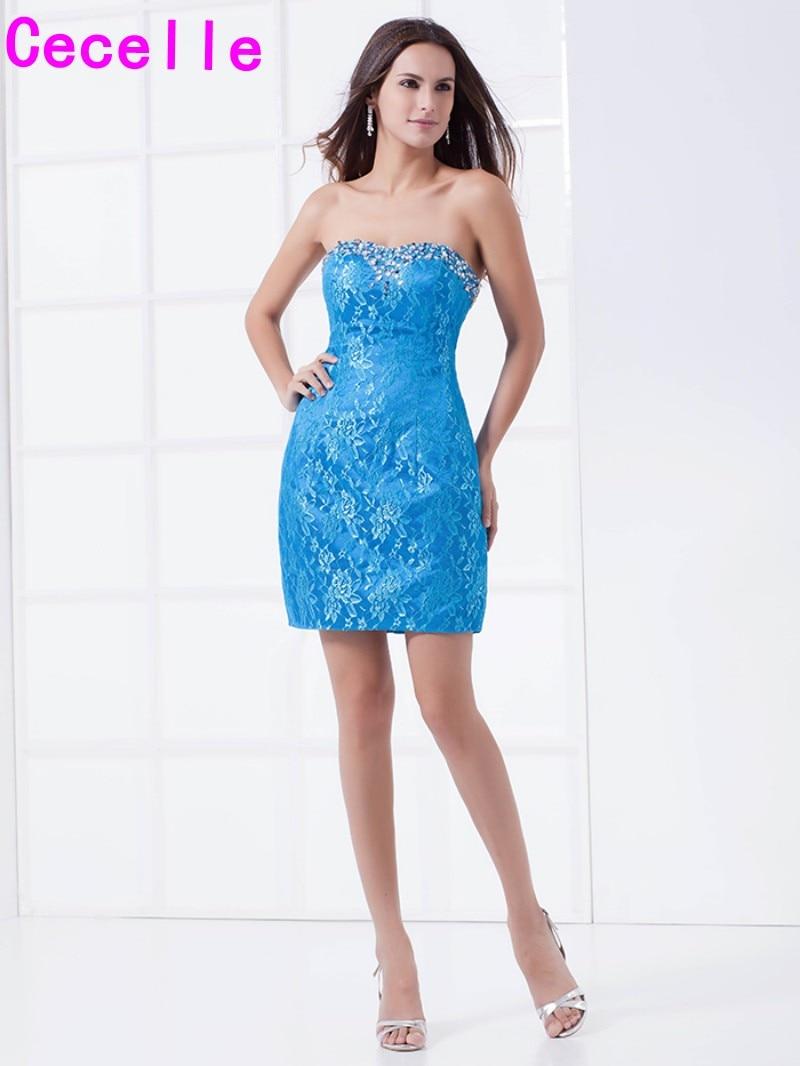 Blue Lace Short Ed Tail Dresses 2019 Beaded