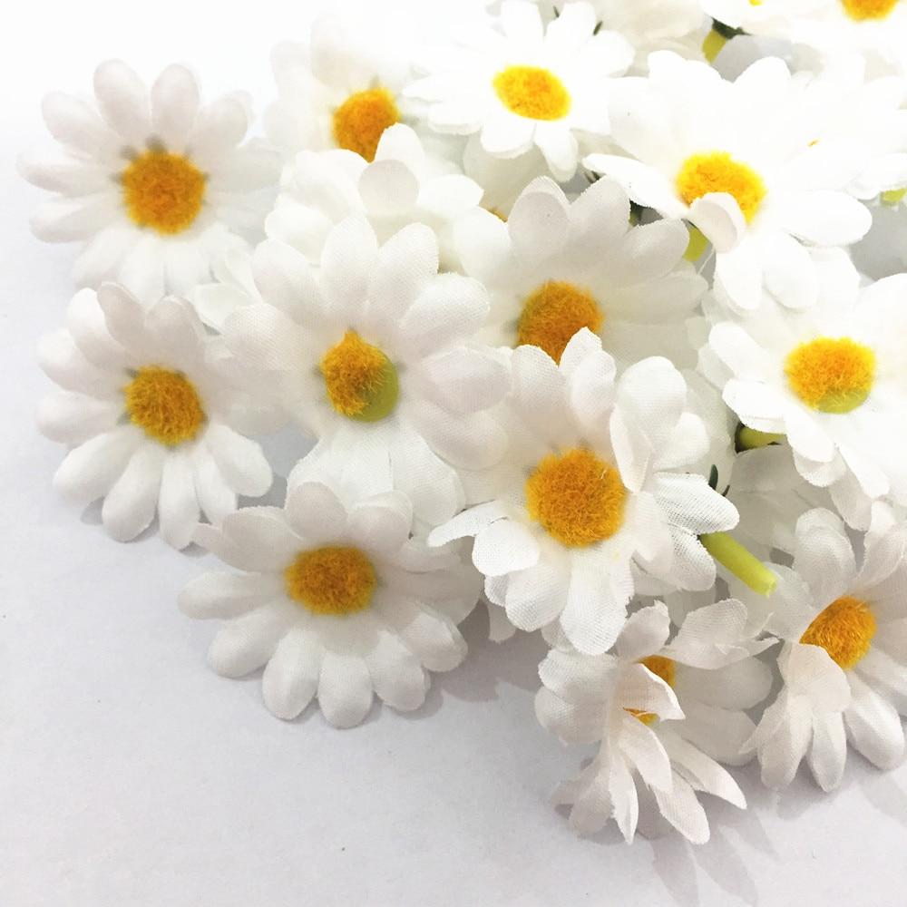 100pcs 40mm Kuning Bunga Matahari Putih Daisy Head Tunas Dekoratif Sintetis Bunga Buatan Untuk Pernikahan Baby Shower Pengantin Buket Buatan Bunga Kering Aliexpress