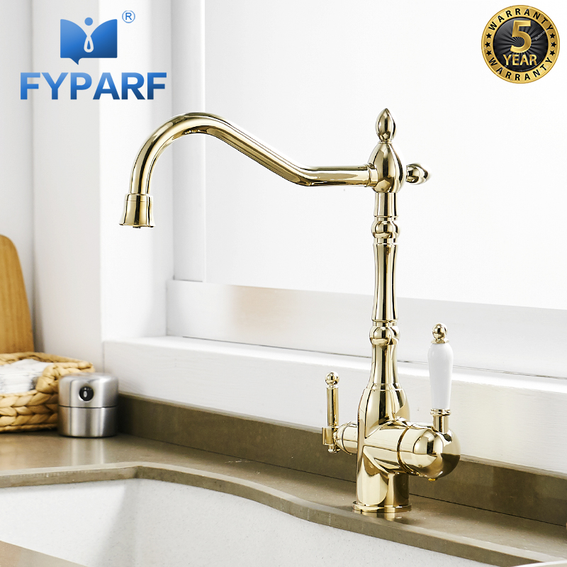 water filtration faucets kitchen fyparf gold kitchen faucet with filtered water taps for kitchen mixer ro drinking water filter 387
