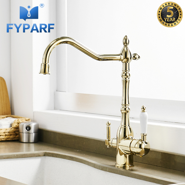 Fyparf Gold Kitchen Faucet With Filtered Water Taps For Kitchen