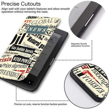 BOZHUORUI Magnetic Cover Case Fits Pocketbook 626/614/624/625/626plus/640 ereader for Pocketbook basic touch lux 2/3 Case Cover