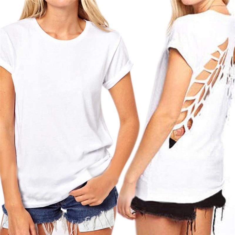 Fashion Women Backless T Shirt Hollow Back Angel Wings O