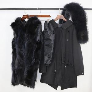 Image 5 - טבעי מינק פרווה בטנה עמיד למים אמיתי Parka פרווה מעיל חורף מעיל נשים דביבון פרווה צווארון הוד חפתים נתיק Streetwear