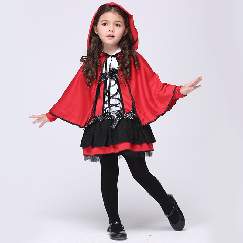 2016 Children Girl Halloween Costumes Girls Red Devil Cosplay Show Children Kids Clothes Little Red Riding Hood Costume devil may cry 4 dante cosplay wig halloween party cosplay wigs free shipping