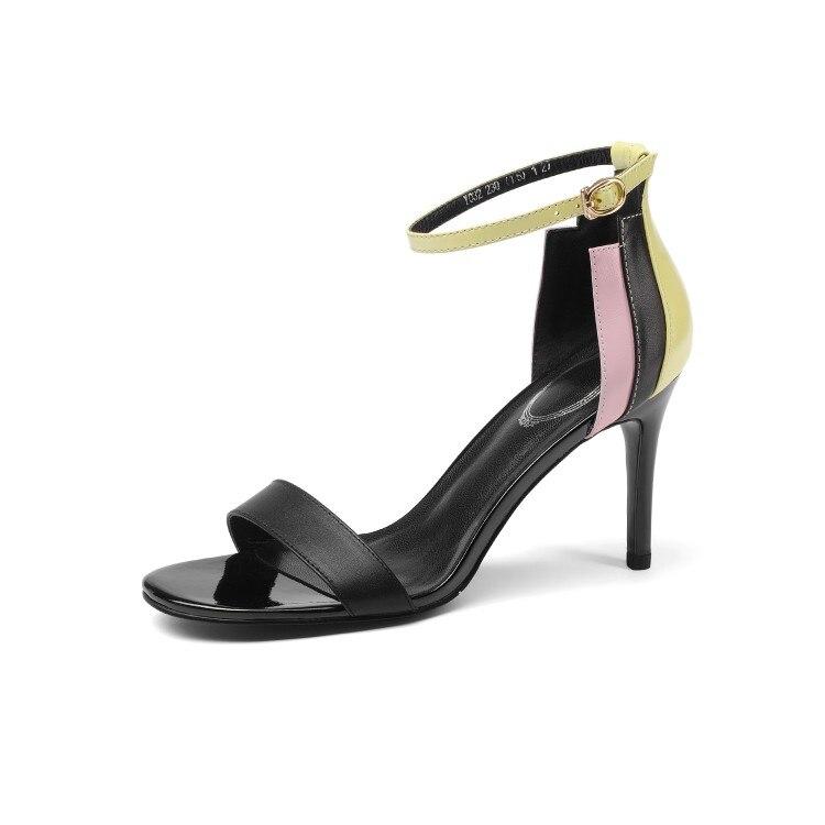 Correa Nuevo Punta Cuero Verano Tacón Vaca Abierta {zorssar} Zapatos Sandalias Tobillo Negro De 2018 Sexy Genuino blanco Mujer 0f55xqg7