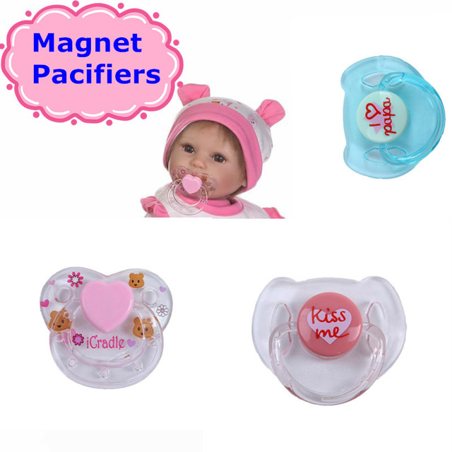latest npk 4 colors magnet pacifiers for reborn baby doll pacifiers