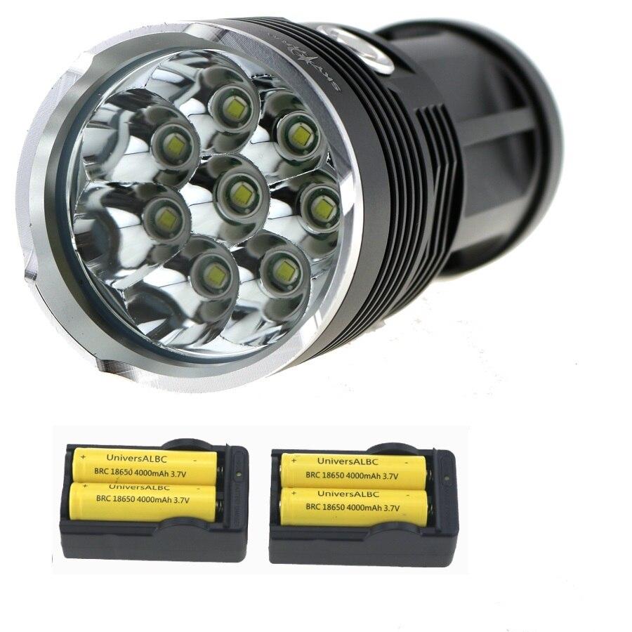 SKY Рэй Кинг 15000 люмен 8x xm-l T6 светодиодный фонарик Водонепроницаемый и тактический фонарик лампы + 4x18650 Батарея + 2x стены Зарядное устройство