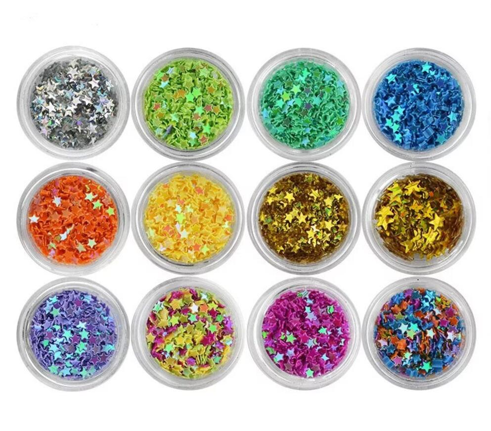 12 Box 12 Color Star Glitter Sequin Beads For Jewelry Epoxy Resin Fillers DIY Making Nail Art Decoration