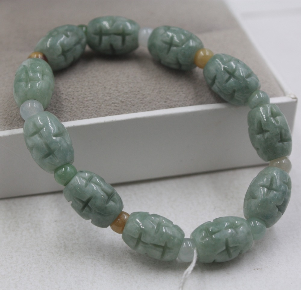 Lucky Bracelet Natural Grade A Jade Jadeite 13mm Oil Blue Carved Bead Bracelet