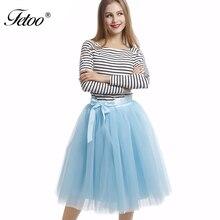 7 Layer Skirt 65CM Length Midi Skirt High Waist Skirts Womens 2016 Tutu Tulle Skirts Solid