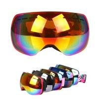 Men Women Anti UV Snow Skiing Eyewear Outdoor Sports Anti Fog Ski Goggles Double Layers Big