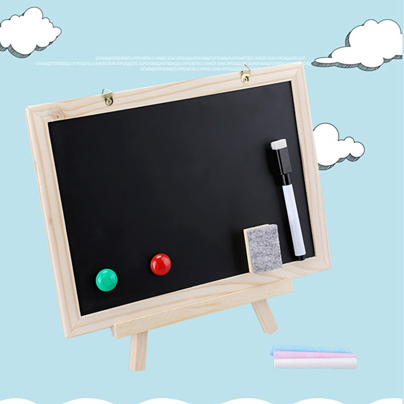 Genereus Kids Toy Blackboard Double Sided Adjustable Chalk Blackboard Dry Erase Surface Magnetic Sponge Marker Pen 100% Origineel