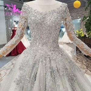 Image 4 - AIJINGYU 간단한 웨딩 드레스 소매 레이스 가운 가운 맞춤 공 러시아어 가운 아랍어 웨딩 드레스