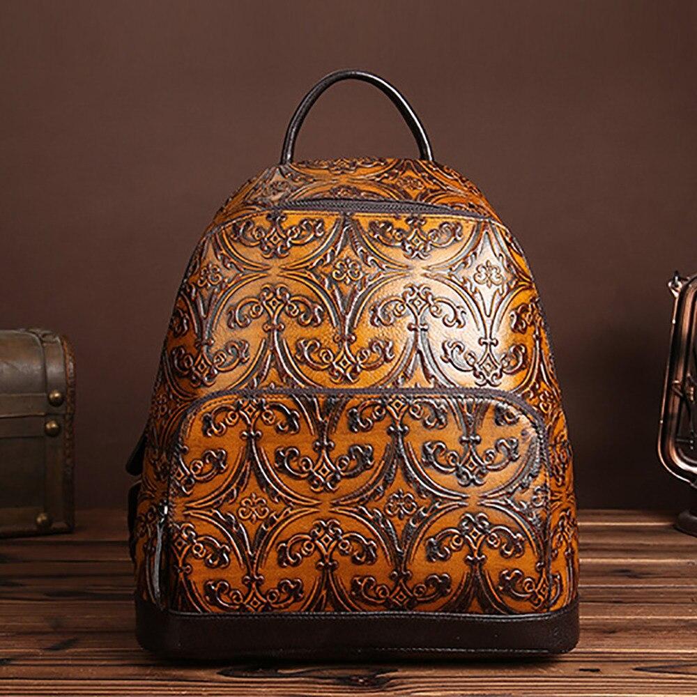2017 New Women Vintage Embossed Backpack Genuine Leather Daypack Shool Bag High Quality Cowhide Knapsack Ladies Travel Rucksack