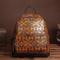 2017 New Women Vintage Embossed Backpack Genuine Leather Daypack Shool Bag High Quality Cowhide Knapsack Ladies