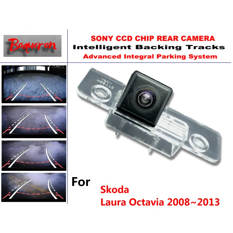 for Skoda Laura Octavia 2008~2013 CCD Car Backup Parking Camera Intelligent Tracks Dynamic Guidance Rear View Camera