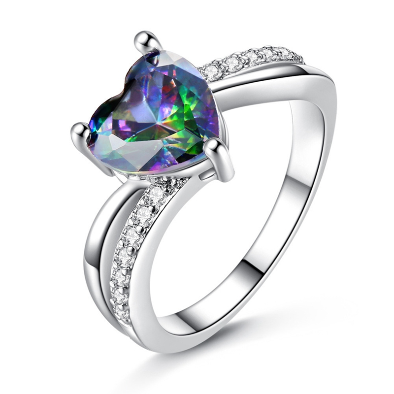 Womens Colorful Stone Wedding Engagement Ring Hollow Band Fashion Jewelry Gift