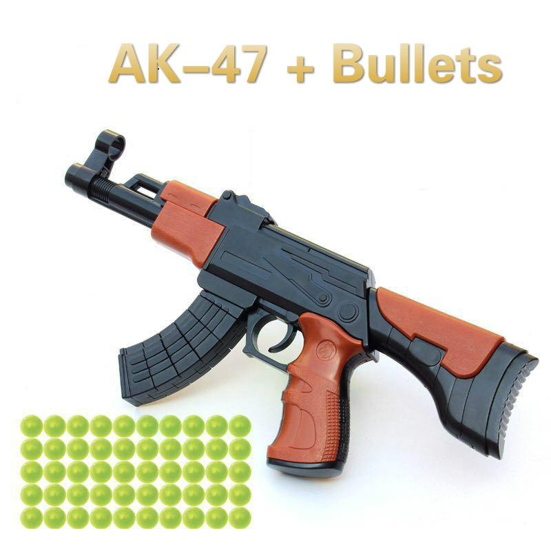 Kids Toy Gun for AK-47 Assembly Building Blocks Model ak47 4D Plastic Model for Child Outdoor Launch Bullets Gun