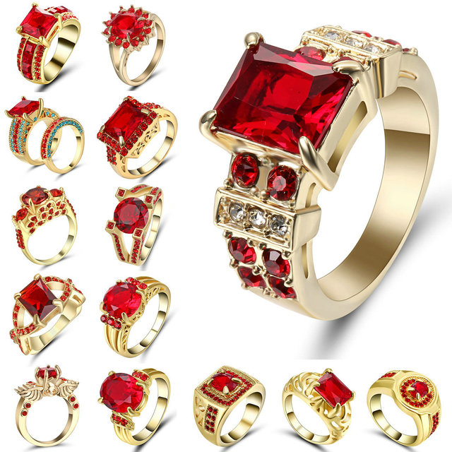 Engagement Rings Red Cubic Zirconia Gold Filled colour Rings Luxurious Jewelry W
