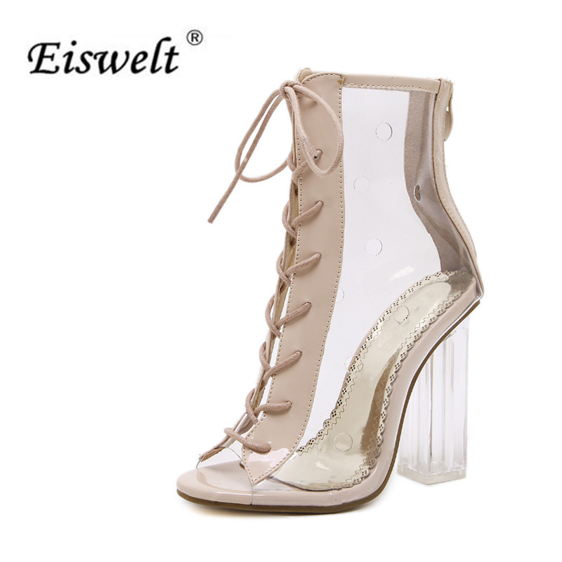 EISWELT Fashion Summer Sexy Sandals Strap Casual High Heel Open Toes Women Transparent  Jelly Clear Sandals Heels Shoes#LQ155 fashion sexy transparent sandals set auger chain ultra slim heel sandals 12 appeal runway show shoes on sale
